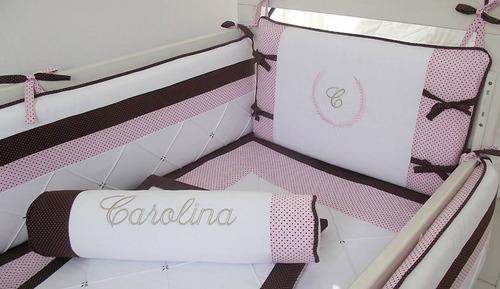 kit berço menina poá marrom/rosa - 347v  *frete grátis