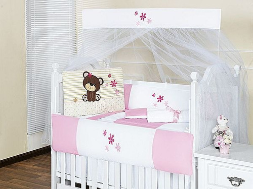 kit berço menina ursa flor rosa 8 peças feminino