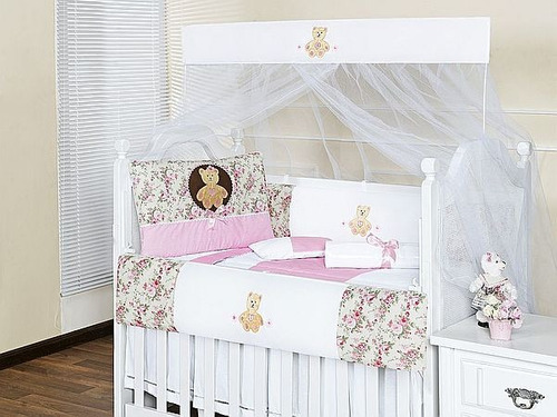 kit berço menina ursa rosa com 8 peças americano promoção