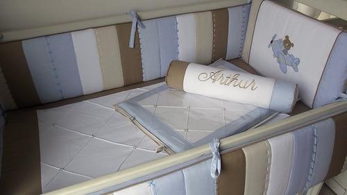 kit berço menino aviador 382 - * frete grátis