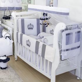 Kit Berço Menino Rei Marinho Listrado 11 Peças