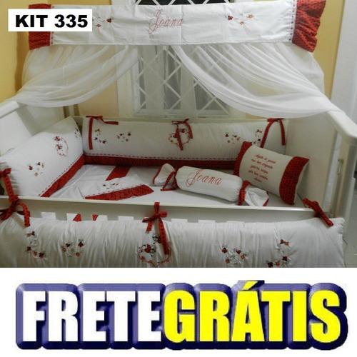 kit berço personalizados 10 pçs joaninhas vermelho poá