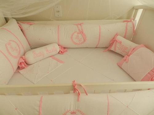 kit berço personalizados 10 pçs provençal branco rosa
