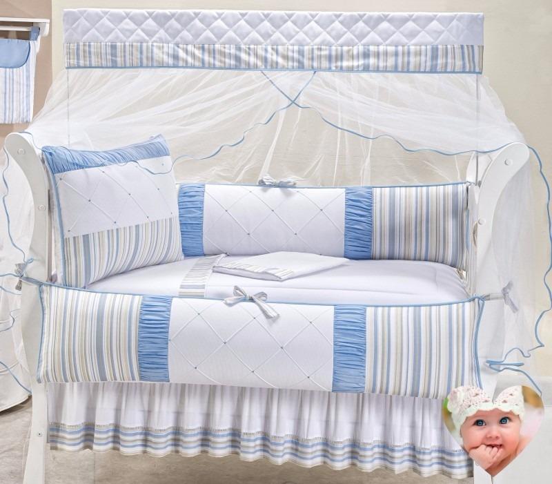 kit berço protetor berço enxoval bebê menino azul + saia. Carregando zoom. 04be8b9c281