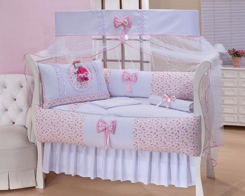 kit berço rosa e branco menina com saia - póli