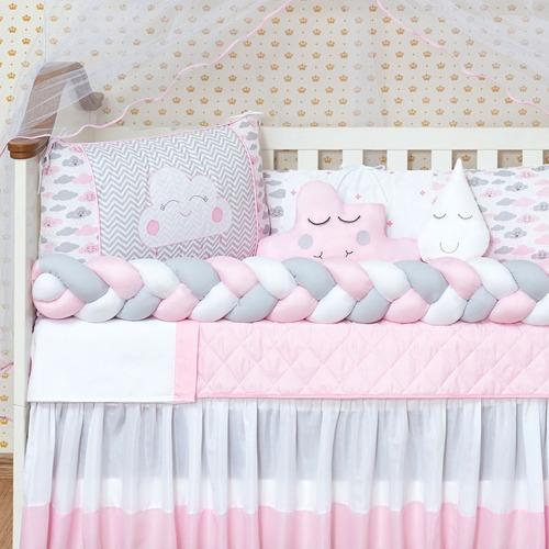 kit berço trança urso rosa americano completo 11 peças