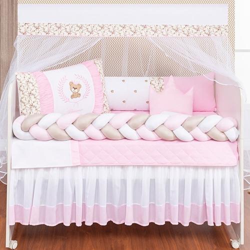 kit berço trançado ursa menina rosa e azul 12 peças com saia