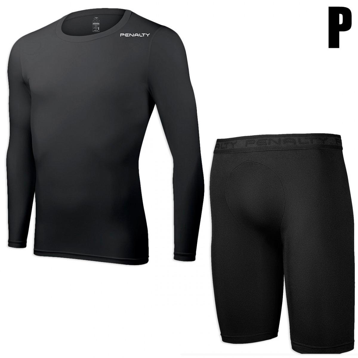84f6aefb71 Kit Bermuda Térmica + Camiseta Manga Longa Tam P Penalty - R  114