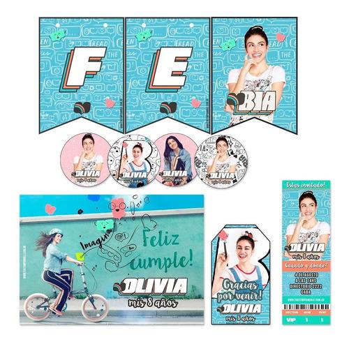 kit bia banderín stickers tarjetas impreso invitaciones