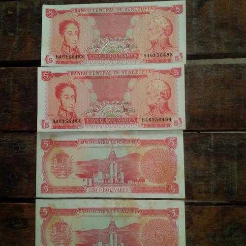 kit billetes antiguos 1989 de bs 5 serial correlativos.