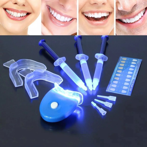 kit blanqueador dental gel 10 jeringas + led blanqueamiento