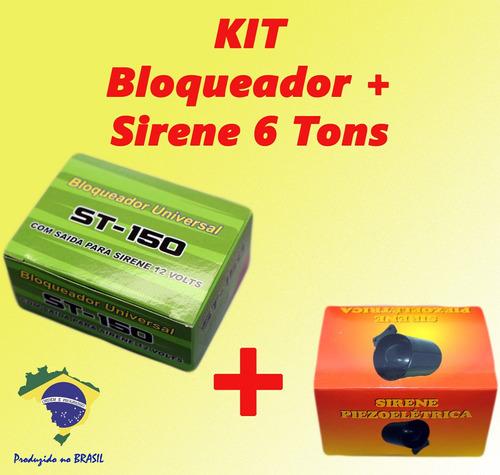 kit bloqueador automotivo + sirene 6 tons + chave extra