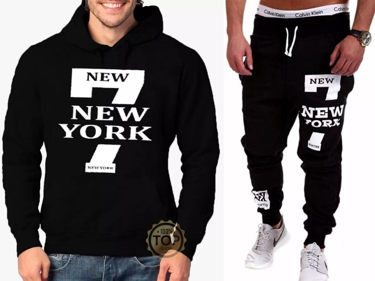 kit   blusa + calça moletom 7 new york academia masculino. Carregando zoom. abacaf45946
