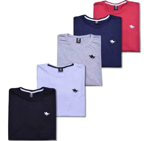 kit blusa camiseta masculina com 5 cores original polo rg518