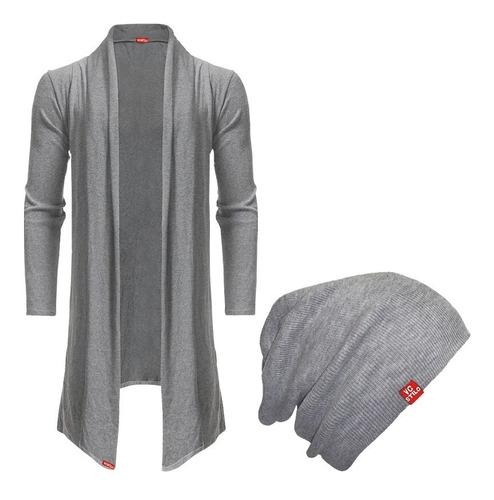 kit blusa de frio cardigan masculino b22 + touca beanie
