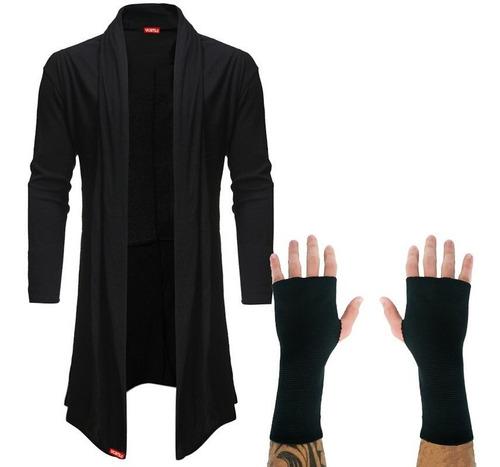 kit blusa de frio cardigan masculino sobretudo b22 + luva