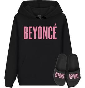 4cac79ec032ed9 Kit Blusa Moletom + Chinelo Beyoncé Canguru Com Capuz Música