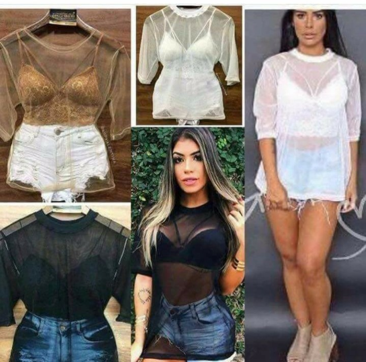 f8080ca8f Kit Blusa Transparente Tule Mais O Top De Renda - R  75