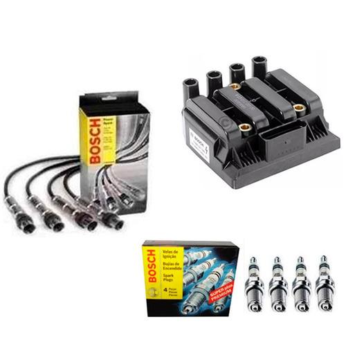 kit bobina + cabos + velas gol g5 - g6 / fox / polo - bosch