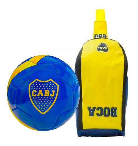 kit boca junior: botinero deportivo dribbling + pelota n° 3