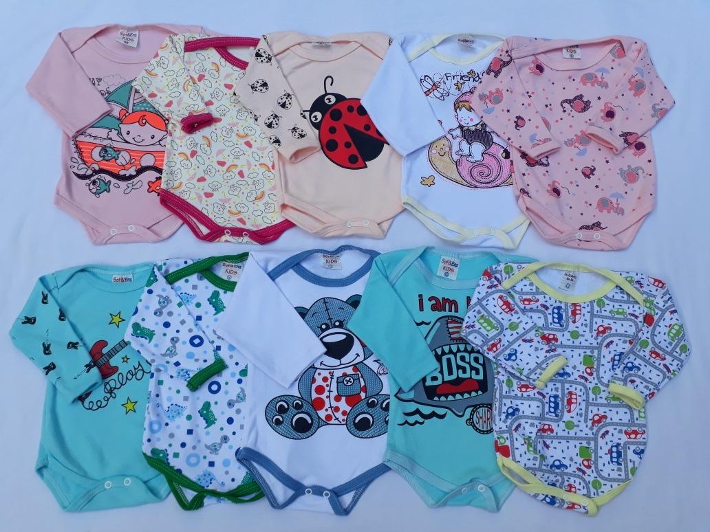 03ea769e63 Kit Body Bebê Manga Longa Ou Manga Curta 10 Pçs Promoção - R  89