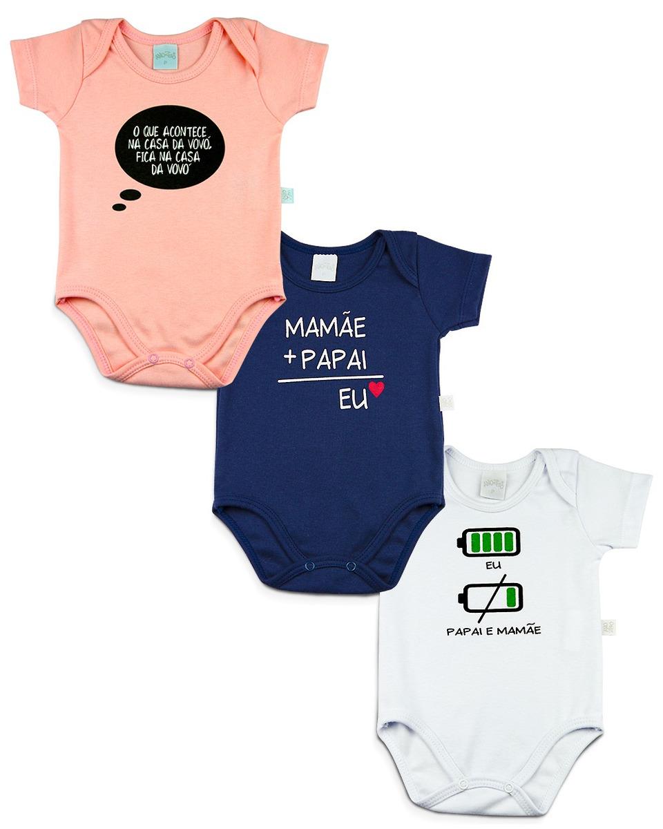 e9ccda9dc kit body bebê menina infantil frases engraçadas 3 peças baby. Carregando  zoom.