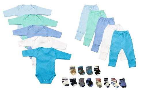 kit body calça mijão e meias 22 peças para bebês