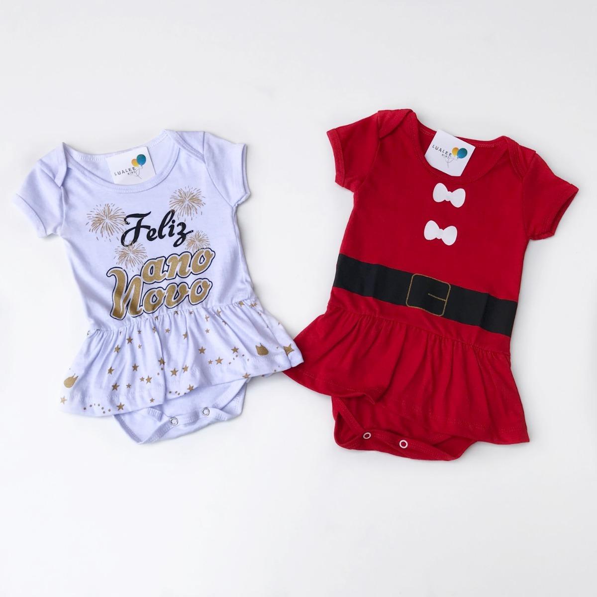 66cd7318ad Kit Body Infantil Bebê Menina Natal + Ano Novo Saia E Brilho - R  59 ...