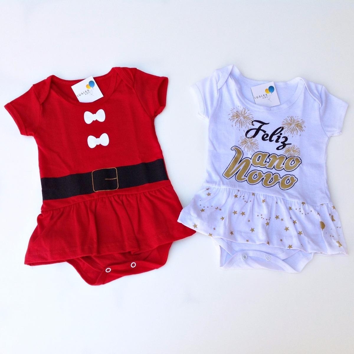 5e573ae237 Kit Body Infantil Bebê Menina Natal E Ano Novo Frete Grátis - R  94 ...