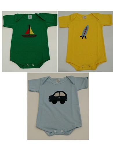 kit body personalizado infantil trio meios de transporte