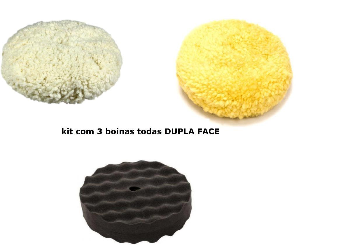 Kit Boinas De Polimento Todas Dupla Face Branca+amarela+cinz - R  138 d08215391c8