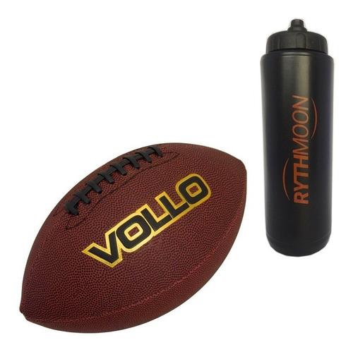 kit bola de futebol americano vollo marrom + squeeze 1litro