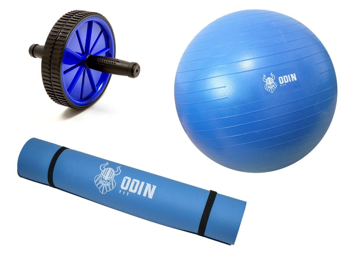 kit bola suiça 65cm gym ball roda abdominal tapete yoga odin. Carregando  zoom. d0e95860bcfe3