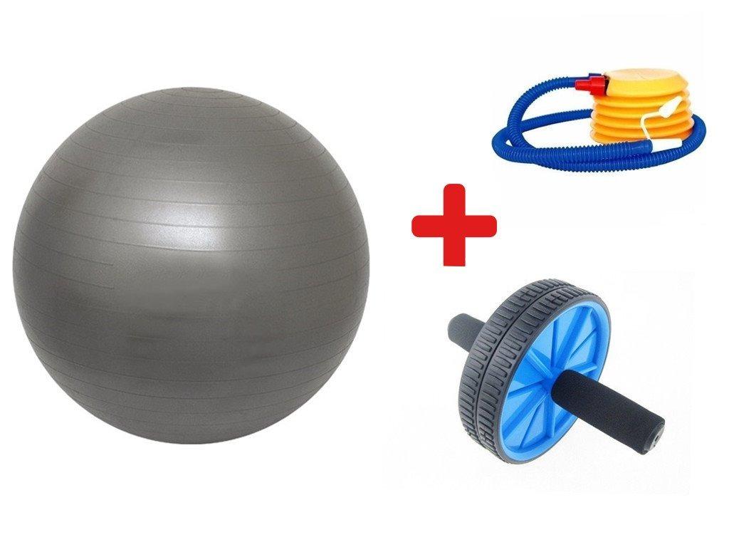 64fecc071e Kit Bola Yoga Suiça 65 Cm + Roda Para Exercício Abdominal - R  62