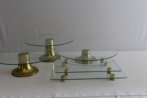 kit boleira vidro dourada bandejas porta doce salgado prato