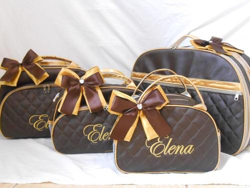 kit bolsa bebe e maternidade bordado personalizados 3 pçs