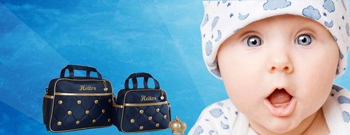 kit bolsa bebe maternidade personalizada com frasqueira 5pç