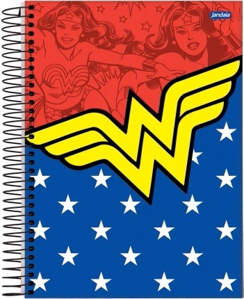kit bolsa + caderno 10 matérias mulher maravilha