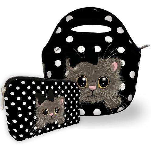 kit bolsa com 1 necessaire isoprene gatinho poá