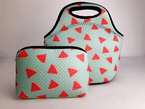 kit bolsa com 1 necessaire isoprene melancias poás