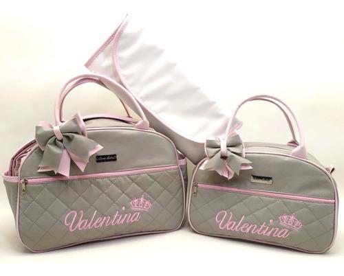 kit bolsa de bebê maternidade personalizado 3 pçs, com laço