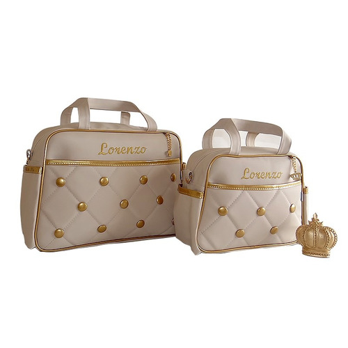 kit bolsa de bebe maternidade personalizada luxo + brindes.