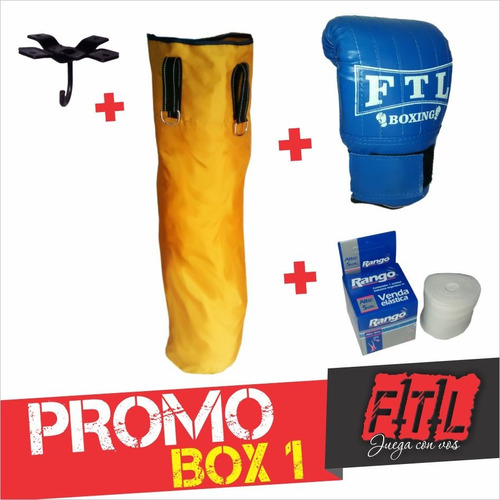 kit bolsa de box + guantin + soporte + par de vendas