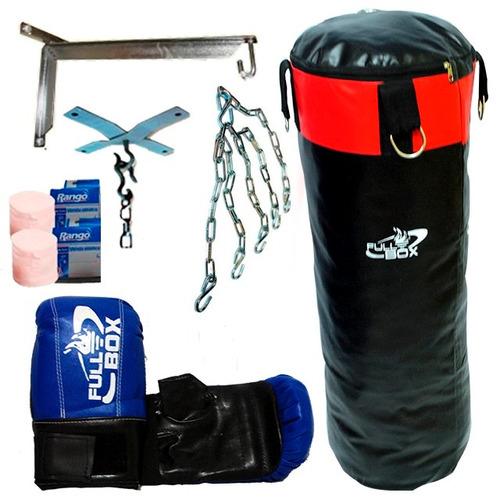 kit bolsa de boxeo + guantin + vendas + cadenas + soporte!