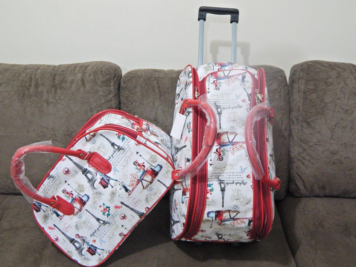 Bolsa De Viagem Feminina Rosa : Kit bolsa de viagem feminina com rodinha bonequinha r