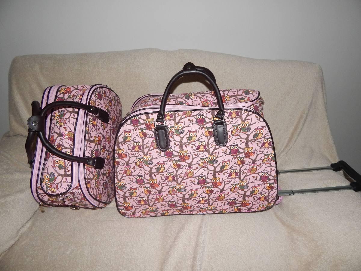 Bolsa De Viagem Feminina Grande : Kit bolsa de viagem feminina com rodinha corujinha r