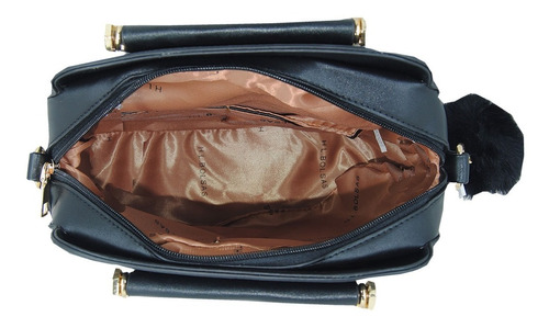 kit bolsa feminina conjunto preto com chaveiro
