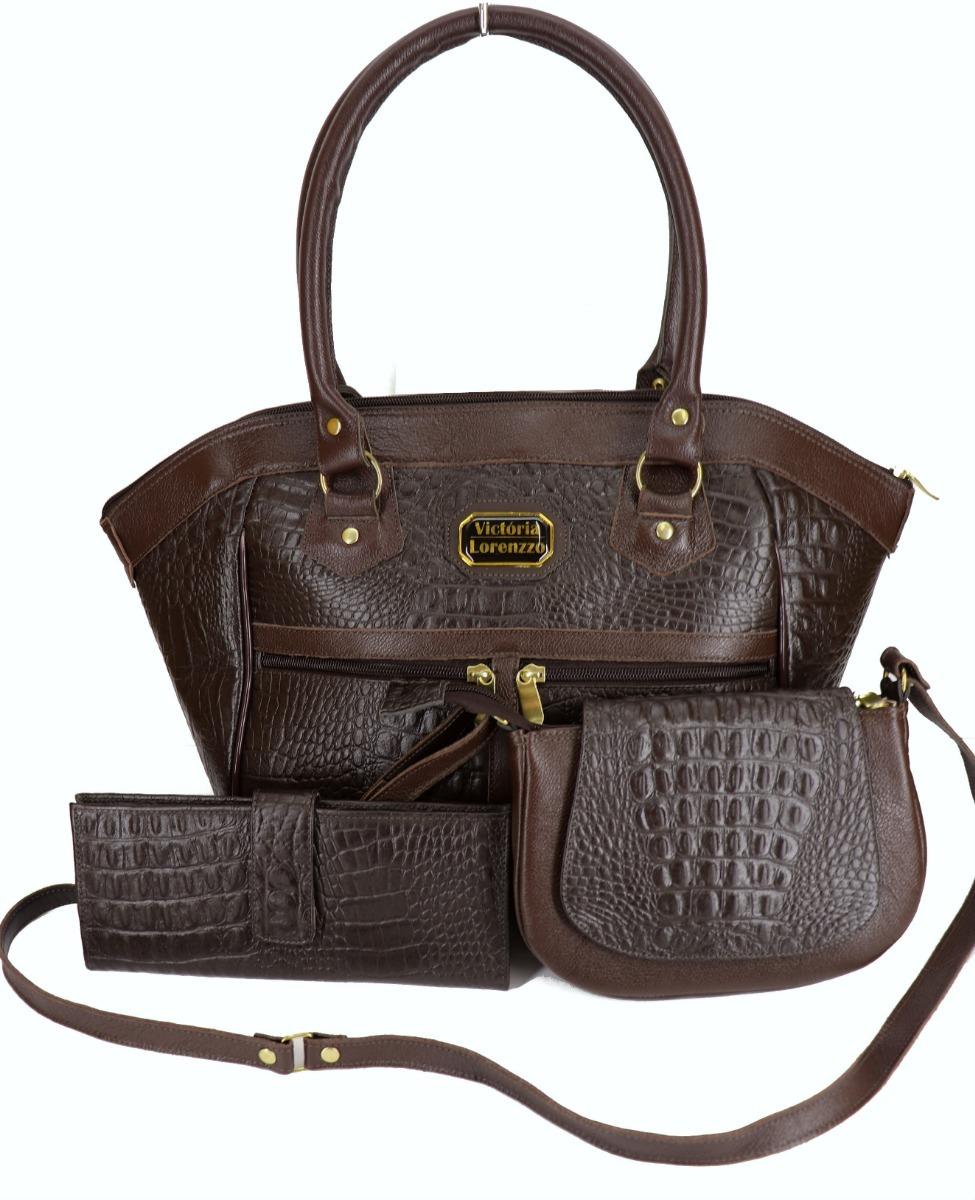 18effd17f kit bolsa feminina couro legítimo + transversal + carteira. Carregando zoom.
