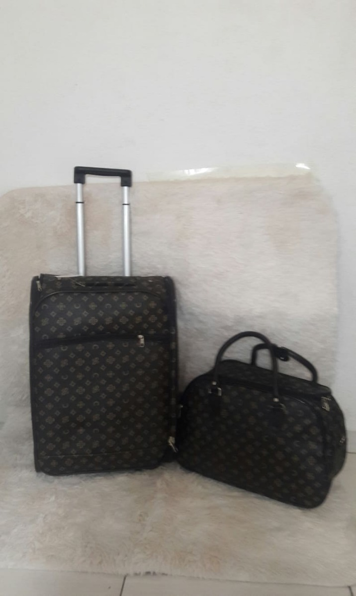 ada1d55e187 Kit Bolsa Feminina E Mala Grande Viagem C Rodinhas Importada - R ...