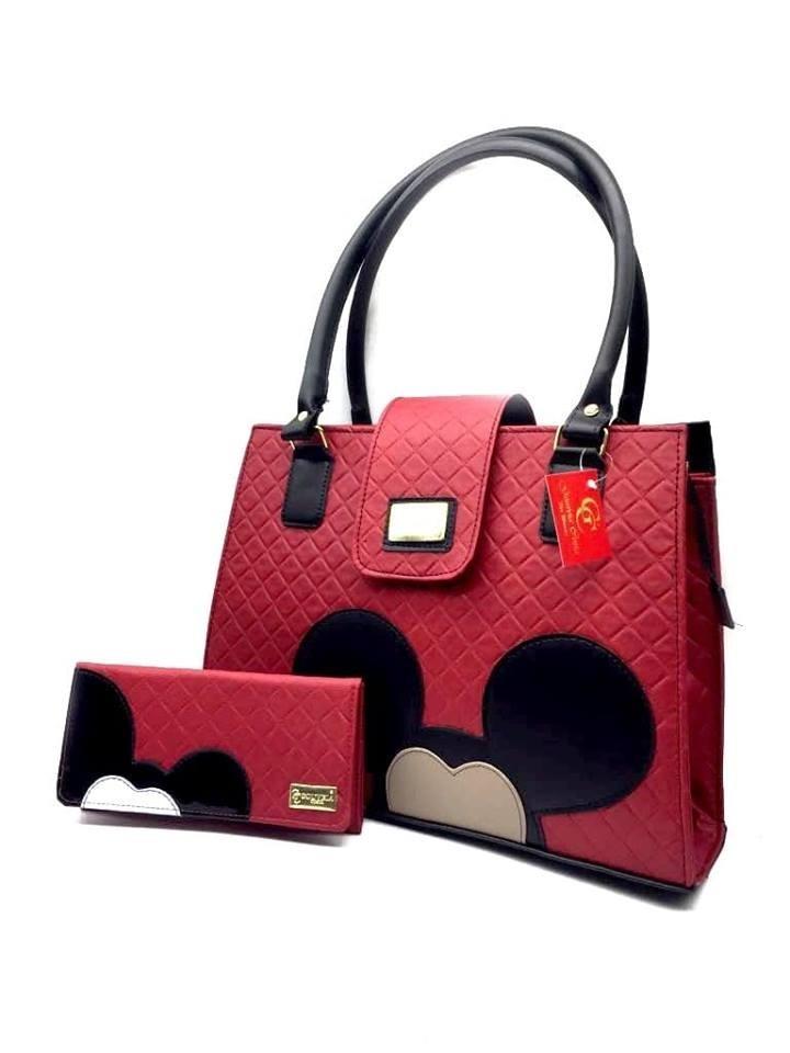 05bcdc082 Kit Bolsa Feminina Mickey + Carteira Orelhas Desenho - R$ 138,98 em ...